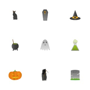 Spooky Halloween icon sets preview