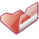 folder, red, open icon