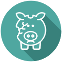 financial problem, broken piggy bank, no money, bankrupt, coins, cash, bankruptcy icon