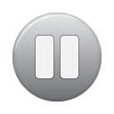 grey, button, pause icon