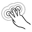 three, tap, gestureworks, triple, finger icon