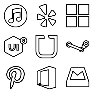 Brands Outlined icon sets preview