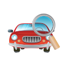 transport, car, glass, vehicle, magnifier, transportation icon