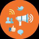 blogging, internet, network, megaphone, comment, rss, speech bubble, advertising, news, bullhorn, seo, online marketing, web, connection, communication, users, social media, marketing, internet marketing icon