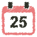 25, december, scribble, christmas, schedule, calendar, event icon