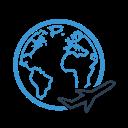 travel, air, airplane, earth, plane, planet, transport icon