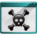 skull, panel, force, log out, logout, exit, gnome, quit, hacker, sign out icon