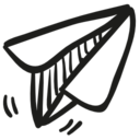 Paper airplane toy icon