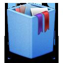 blue, full, trash icon