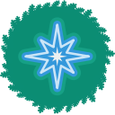 wreath, xmas, christmas, holiday, star icon