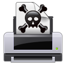 wrong, gtk, skull, alert, poison, crossbones, error, exclamation, printer, warning, print icon