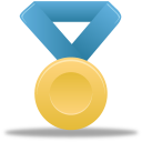 award, metal, gold, blue, medal icon