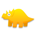 cartoon, triceratops, dinosaur icon