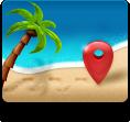 beach, maps icon