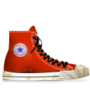 converse, dirty, red, tasi icon