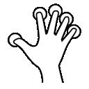 five, tap, gestureworks, finger icon