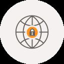 security, locker, globe, safe, world, internet, locked icon