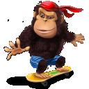 skateboard, gorilla icon