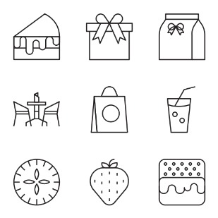 Bakery line set 4 icon sets preview