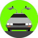 delorean, car, vehicle, future, transport, transportation, back to the future icon
