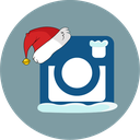 snow, santa hat, instagram icon