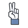 vivacious, fingers, like, victory icon
