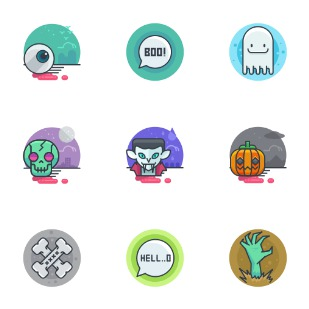 Halloween bie icon sets preview