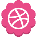 media, social, dribble, flower, round icon