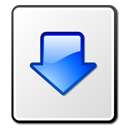 document, descending, blue, file, fall, list, paper, arrow, down, listing, descend, kget, download, decrease icon
