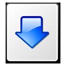 document, descending, blue, file, fall, list, paper, arrow, down, listing, descend, kget, download, decrease icon
