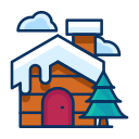 property, cabin, cloud, house, tree, snow, winter icon