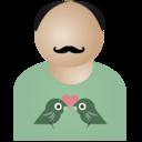 Afro man birds icon