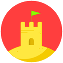 sand, castle, vacation, summer, beach icon