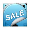 sticker, sale, blue icon