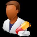 pharmacist, dark, male icon