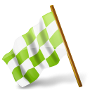 Chartreuse, Chequered, Flag, Left, Map, Marker icon