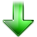 green, arrow, descending, decrease, descend, misc, update, fall, download, down icon