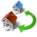 swap, wire, transfer, houses icon