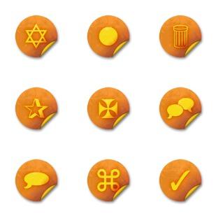 Orange Grunge Stickers icon sets preview