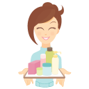 girl beauty consultant products icon
