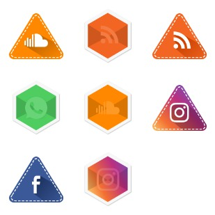 Social app hexagon and Triangle set icon sets preview