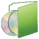 Cds, Folder, Green icon