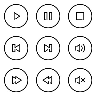 Media Controls icon sets preview