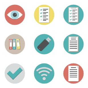 Flat office icon sets preview