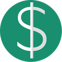 dollar, currency, euro, green, finance, minimal icon