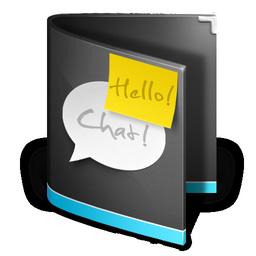 folder, talk, speak, chat, black, comment icon