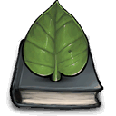 leaf, book icon