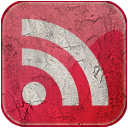 Feed red grunge icon