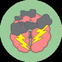 brain storm, cloud, thunder icon