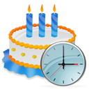 Birthday, Cake, Clock icon